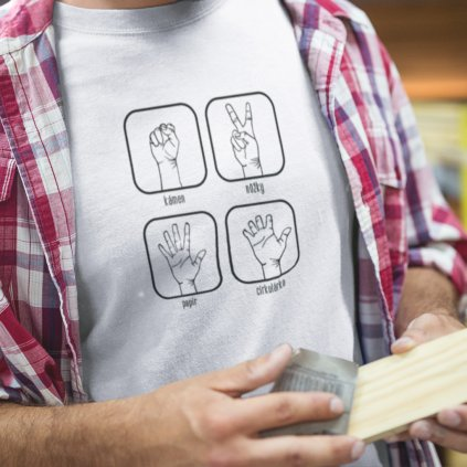 Pánské tričko Kámen, nůžky, cirkulárka