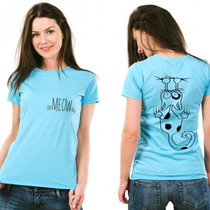 Dámské tričko Back MEOW (potisk z obou stran)