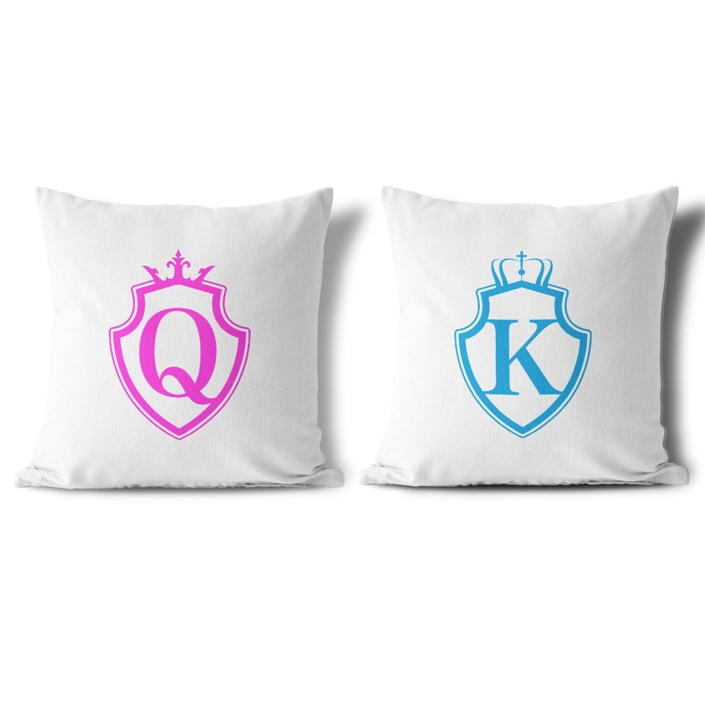 Vankúše KING & QUEEN Pink and Blue Shield (cena za obidva kusy)