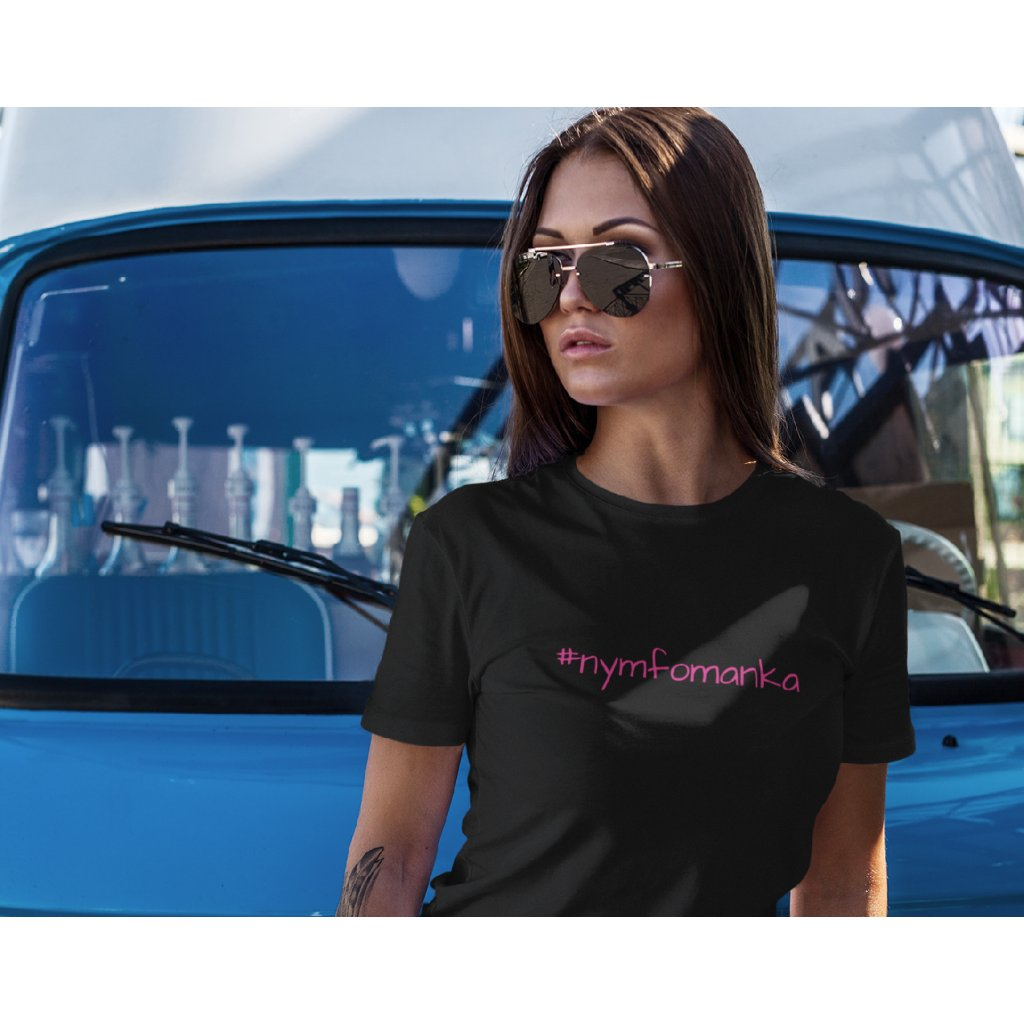 t shirt mockup featuring a woman leaning on a vintage van 2259 el1 (27)