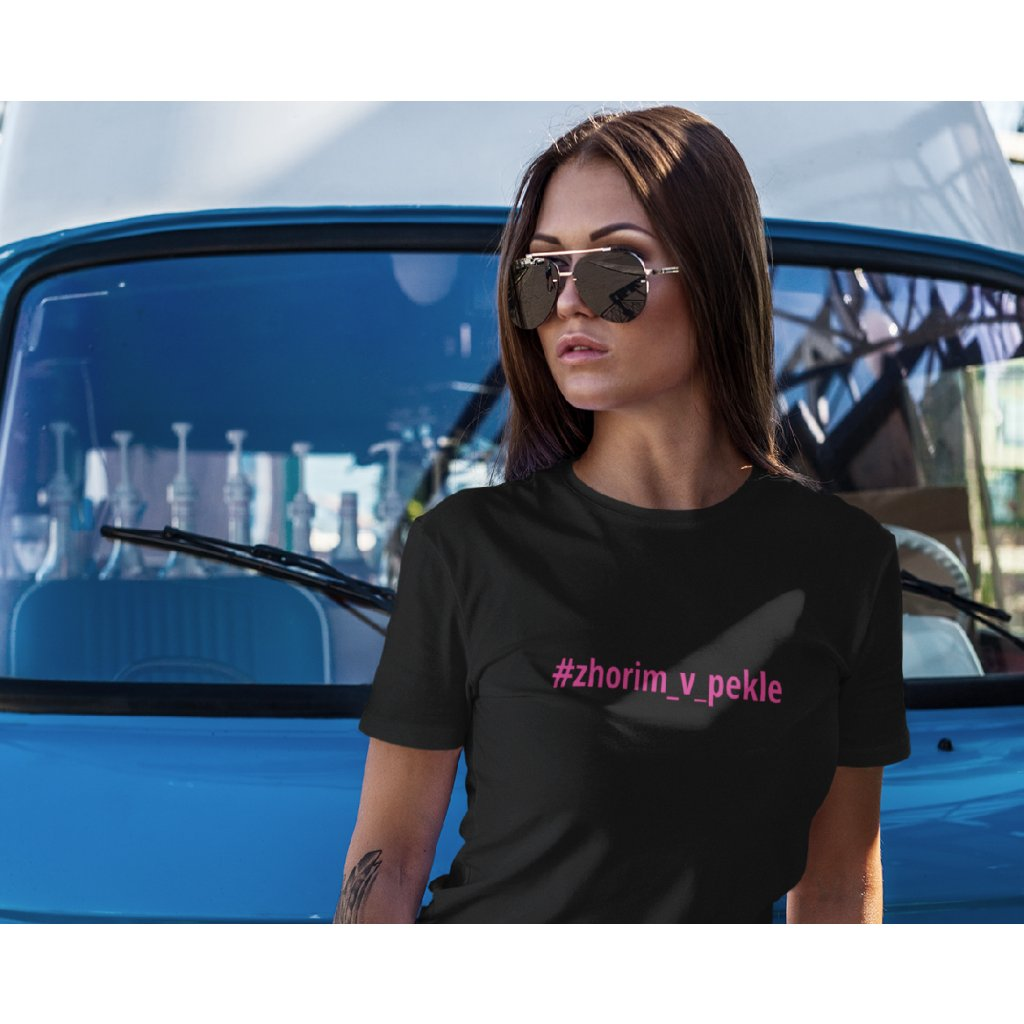 t shirt mockup featuring a woman leaning on a vintage van 2259 el1 (7)