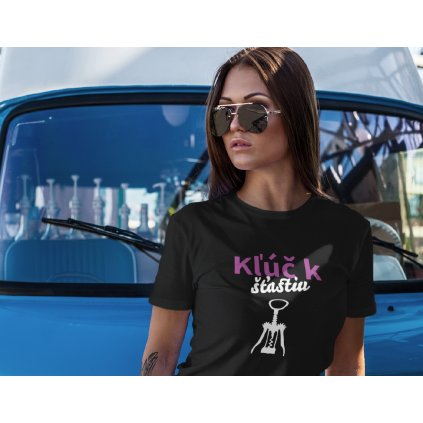 t shirt mockup featuring a woman leaning on a vintage van 2259 el1 (8)