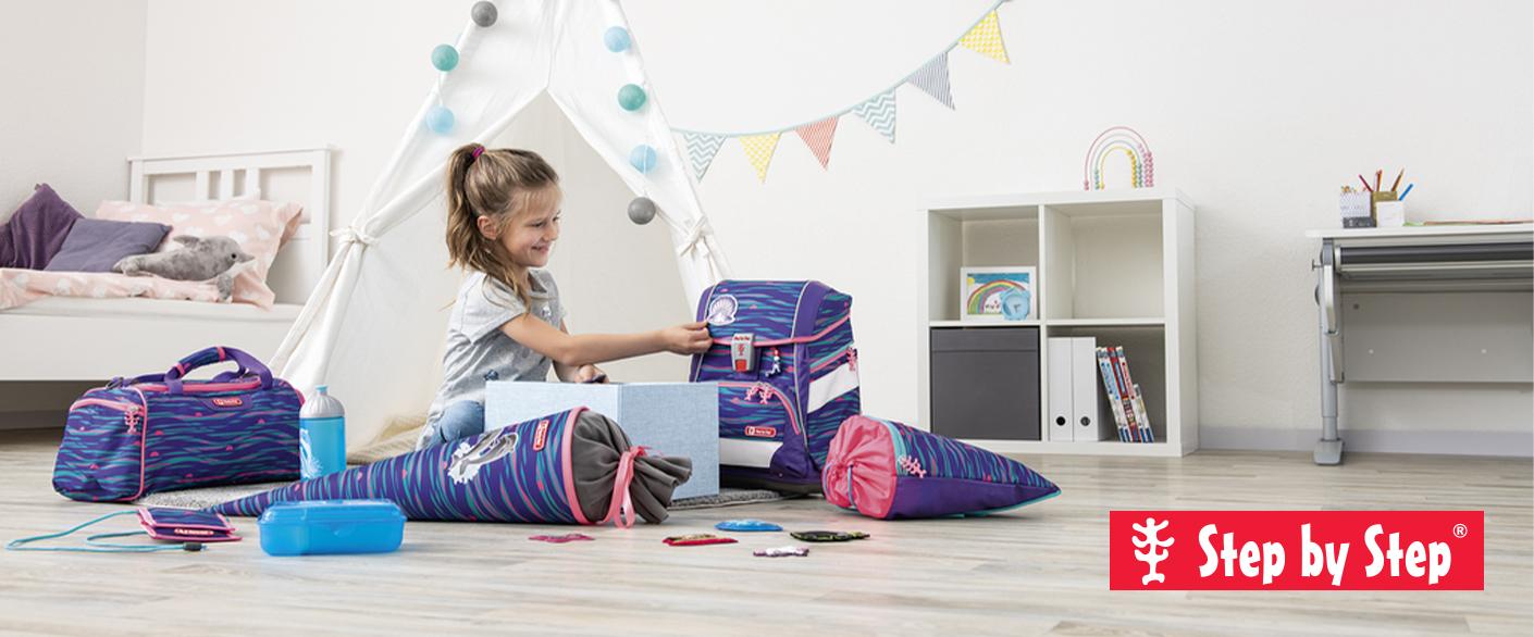 Školní aktovky pro prvňáčky - sety step by step