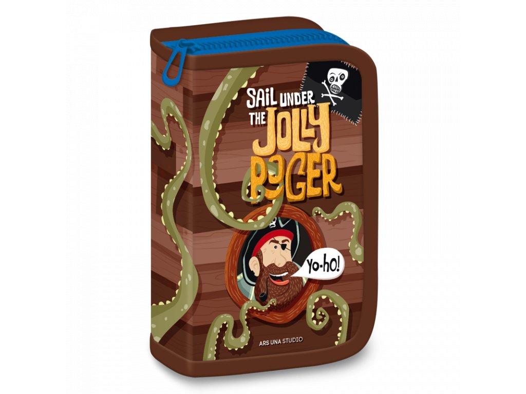 Školní penál Pirát Jolly Roger plněný