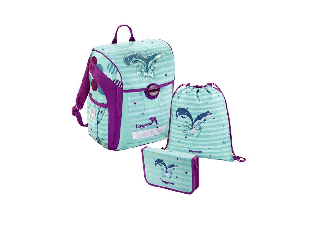 Školní aktovka 650g - 3-dílný set Baggymax Trikky - Delfíni  + dárek - zdravá lahev