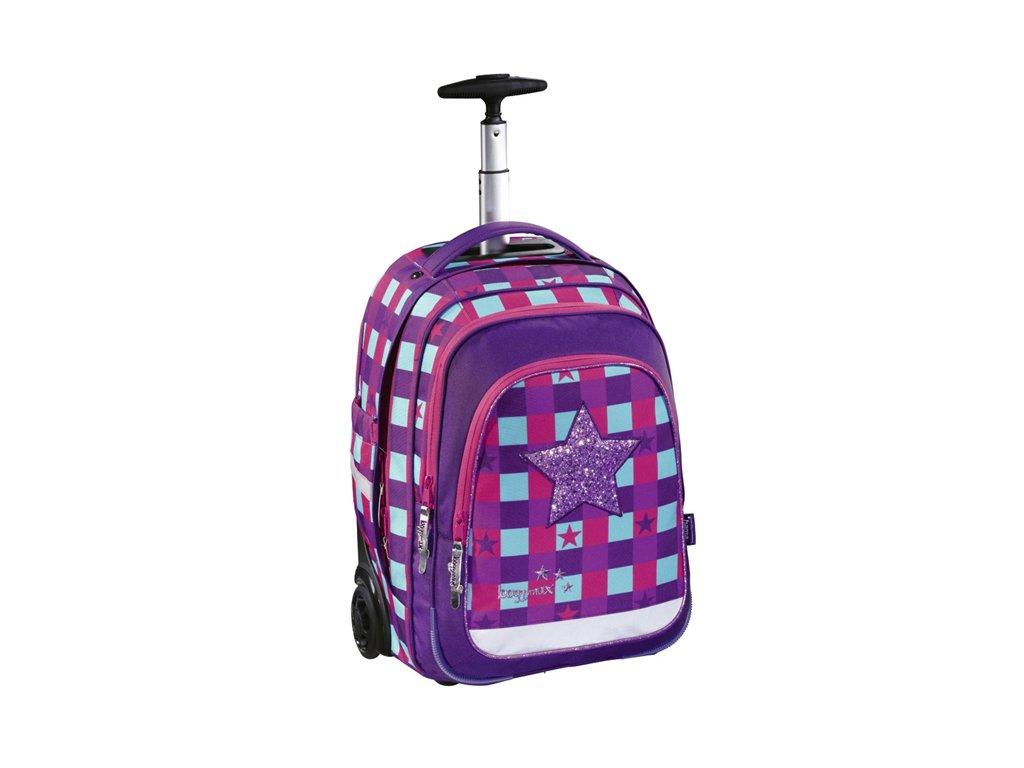 Školní batoh na kolečkách Baggymax Pink Star