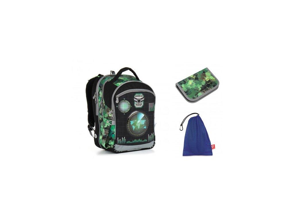 Školní batoh Topgal CHI 883 E - Green SET MEDIUM