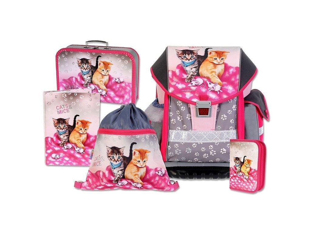 Školní batohový set Emipo ERGO TWO Cats & Mice 5-dílný