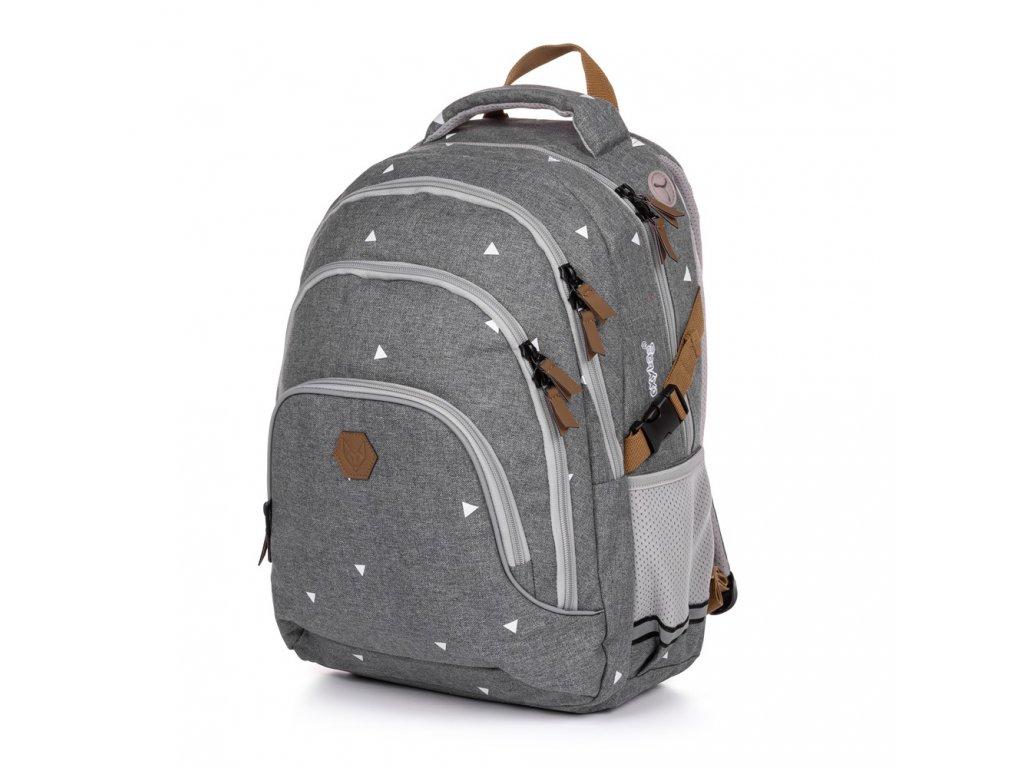 Školní batoh OXY SCOOLER Grey triangles