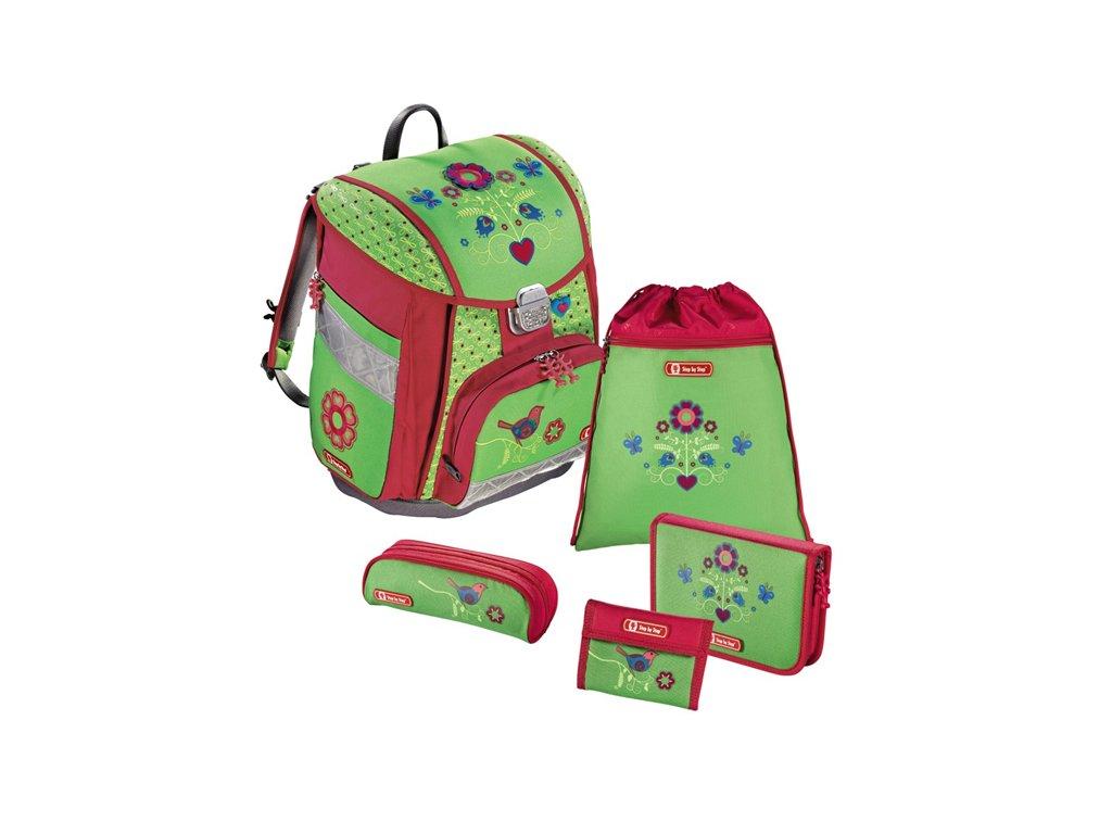 Školní aktovka pro prvňáčky – 5-dílný set, Step by Step Touch Country Flower, certifikát AGR  + pastelky Maped 24 barev
