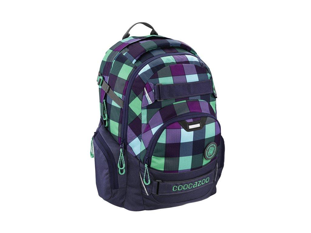 Školní batoh Coocazoo CarryLarry2 - Green Purple District  + sluchátka hama - zdarma