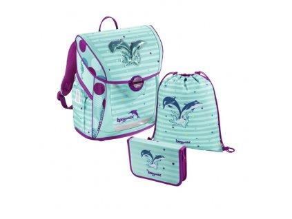 Školní aktovka - 3-dílný set - Baggymax Fabby Delfínci