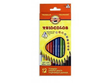 Pastelky 12 barev , trojhranné tenké Triocolor