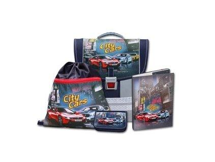 Školní aktovkový set City Cars 4-dílný