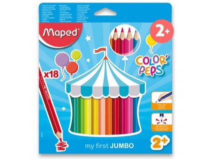 Pastelky Maped Color'Peps Jumbo - 18 barev, trojhranné