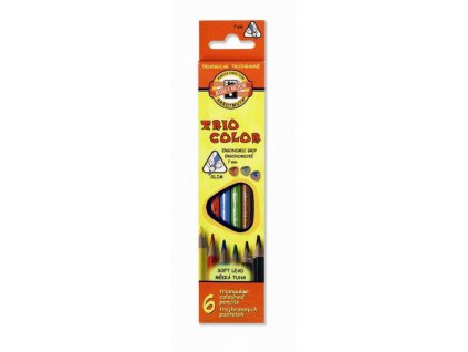 Pastelky 6 barev , trojhranné tenké Triocolor