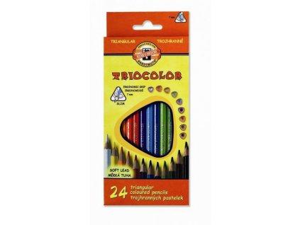 Pastelky 24 barev , trojhranné tenké Triocolor