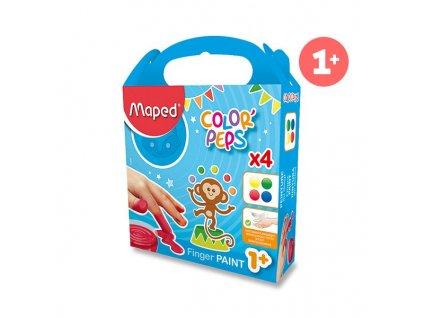 Prstové barvy Maped Color'Peps - 4 barvy, 80 ml