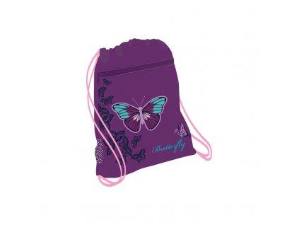Velký sáček se zipem na bačkory, nebo tělocvik - BelMil - Purple flying Butterfly
