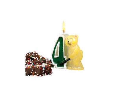 Svíčka 4 s medvídkem