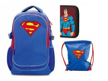 Školní batoh set 3 díly Baagl - s pončem Superman – ORIGINAL
