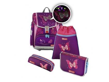 Školní aktovka hama - 4-dílný set, Step by Step Flash blikačka Třpytivý motýl, certifikát AGR  + dárek - zdravá lahev + gumovací pero frixion