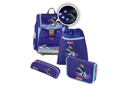 Školní aktovka pro prvňáčky - 4-dílný set, Step by Step Flash blikačka Delfíni, certifikát AGR