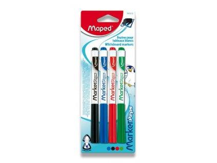 Popisovač Maped Marker'Peps - sada 4 barev (stíratelné fixy)