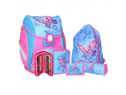 Školní aktovka Spirit Pro light Butterfly SET