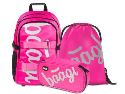 Školní batoh v setu Baagl - skate Pink