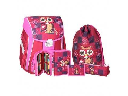 skolni aktovka 5 dilny set start owl red