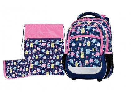 Školní batoh celý set - pro prvňáčky Happy Monster