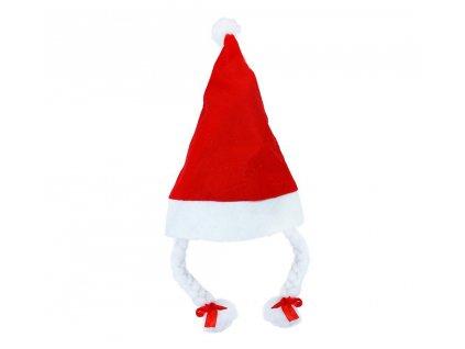 Vánoční čepice s copy 40 cm