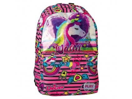 skolni batoh pop school pattern rainbow unicorn