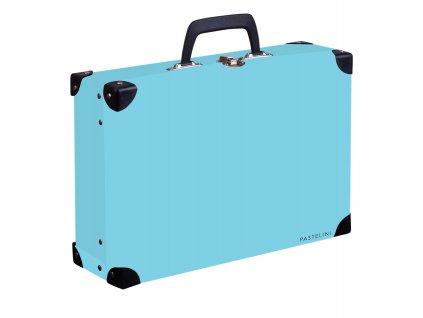 Kufřík lamino hranatý okovaný PASTELINI modrá