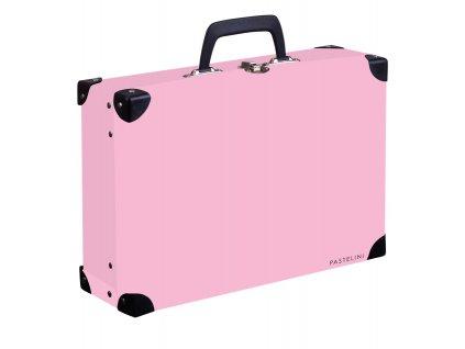 Kufřík lamino hranatý okovaný PASTELINI růžová