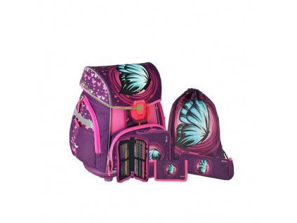 skolni aktovka 6 dilny set pro light premium blue butterfly led