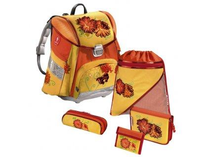 Školní aktovka hama - 5-dílný set Step by Step - Květiny  + zdravá lahev zdarma