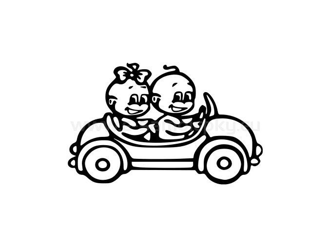 Samolepka - Dítě v autě - Kluk a holka 02