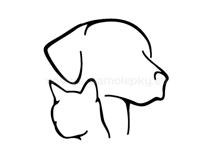 Samolepka - Pes a kočka 03