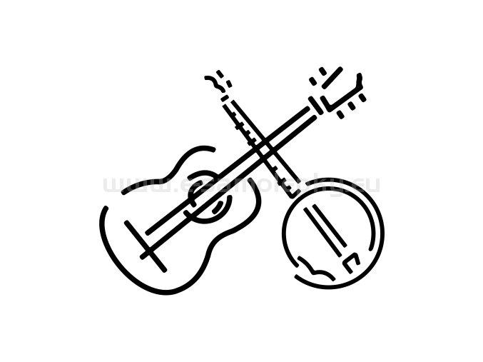 Samolepka - Kytara + banjo