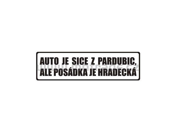 Samolepka Auto je z Pardubic