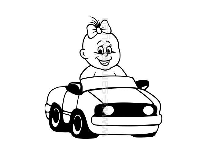 Samolepka - Dítě v autě - Holka