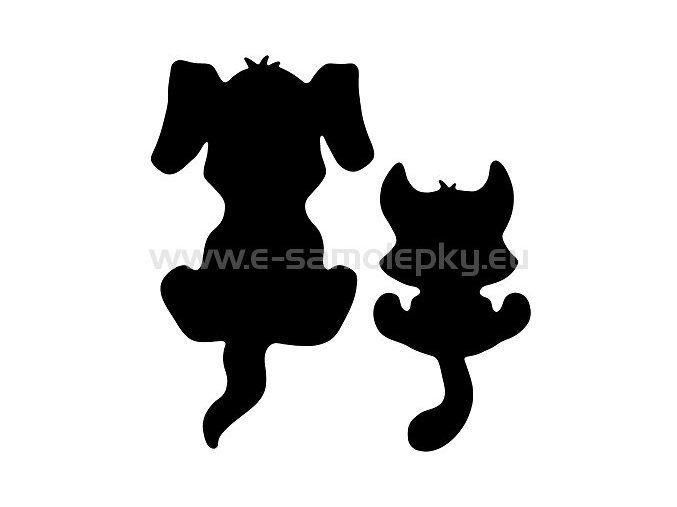 Samolepka - Pes a kočka