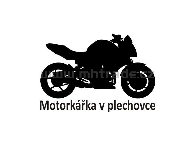 Samolepka - Motorkářka v plechovce
