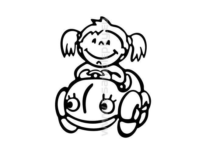 Samolepka - Dítě v autě - Holka 02