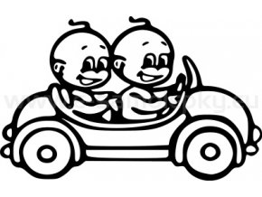 Samolepka - Dítě v autě - 2 kluci 02