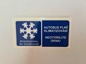 """Samolepka """"Autobus je klimatizován"""""""