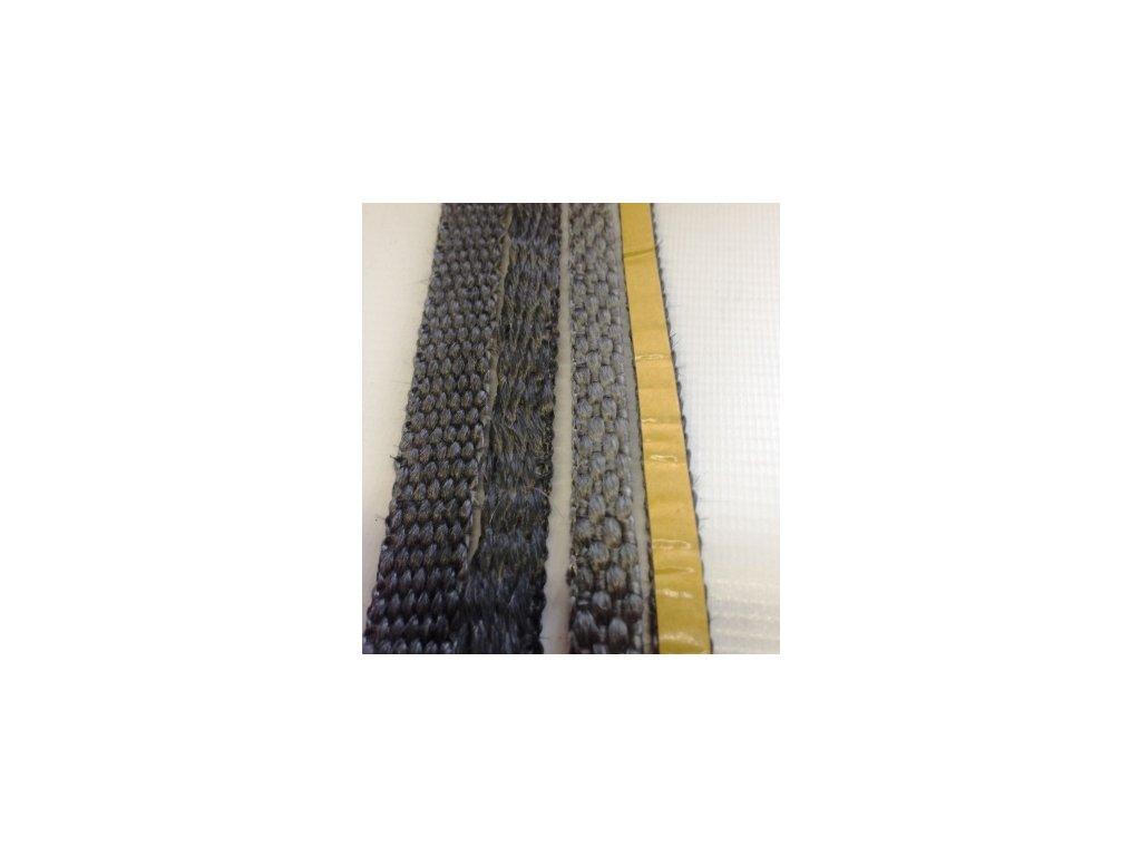 """páska """"E"""" sklo samolepicí 10x3mm balení 2m černá  těsnění pro kamna, krby, kotle"""