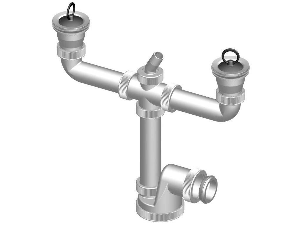Dřezový sifon DN 50/40 dvoudílný s přípojkou+nerez mřížka 70mmT-737